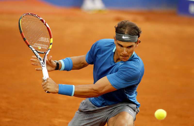 Rafael Nadal a match of Barcelona tennis tournament Conde de Godo in 2014
